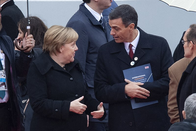 panish Prime Minister Pedro Sánchez with German Chancellor Angela Merkel Author: Pool Moncloa/Borja Puig de la Bellacasa via Commons Wikimedia